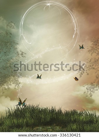 fantasy landscape with sparkles and butterfly