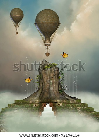 Fantasy landscape with trunk and air  balloon - stock photo