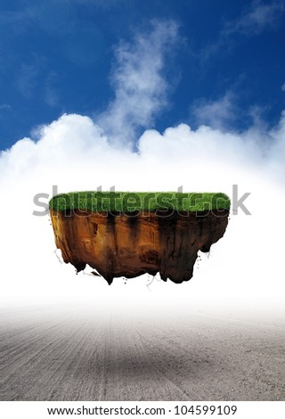 Fantasy levitating magic land - scene of dream - stock photo