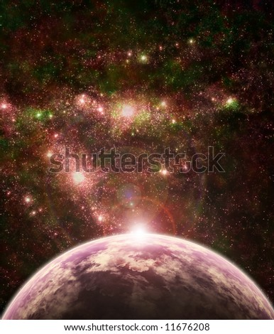 fantasy-like space scene with a planet and stars - stock photo