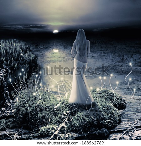 Fantasy magic world. Fairy or mermaid standing on green island in  lake and watching on moon - stock photo