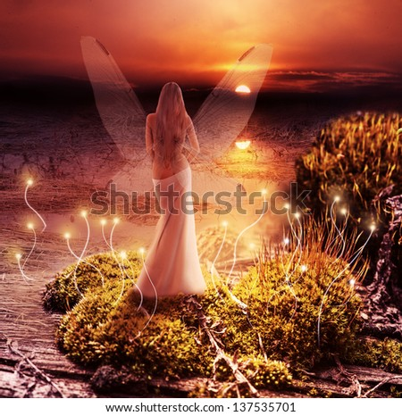 Fantasy magic world. Fairy with transparent wings standing on green island in  lake and watching the sunset - stock photo