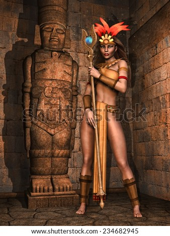 Fantasy Mayan girl in an ancient temple