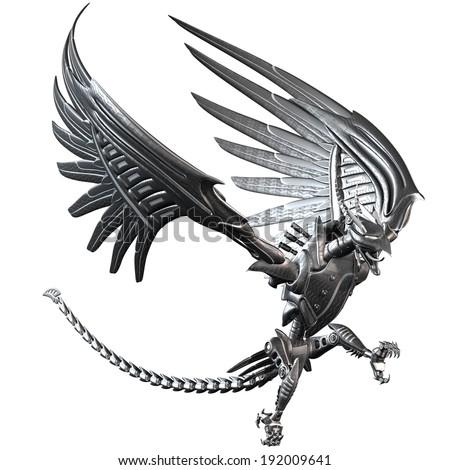 Fantasy Metal Dragon - stock photo