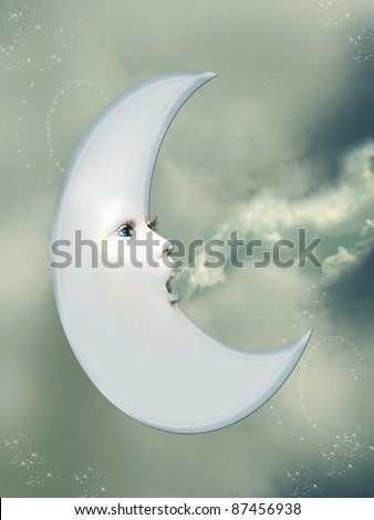fantasy moon blowing clouds in a blue sky - stock photo