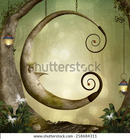 Fantasy moon swing - stock photo