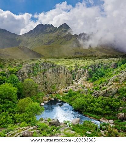 fantasy mountain landscape - stock photo