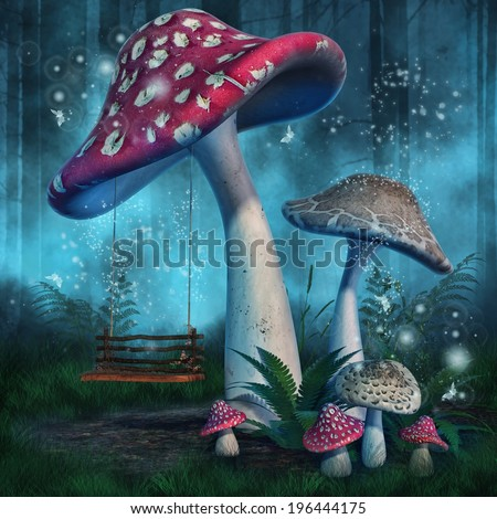 Fantasy mushrooms with a fairy swing in enchanted forest - stock photo