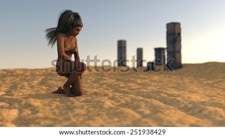 fantasy mystery girl in desert on ruins background - stock photo