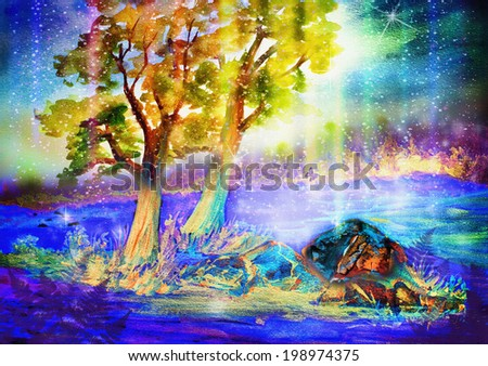 fantasy night landscape with butterfly and northern lights - stock photo