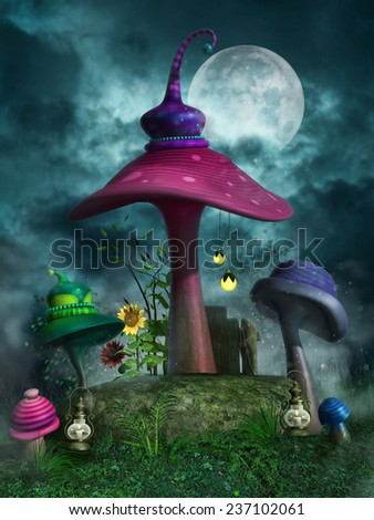 Fantasy night scenery with colorful mushrooms, lanterns and sunflowers - stock photo