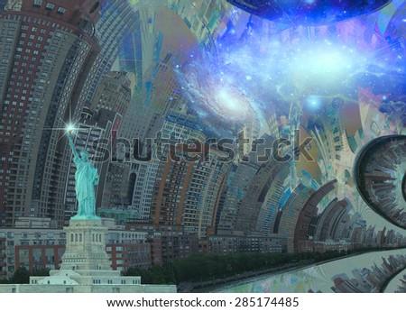 Fantasy NYC - stock photo