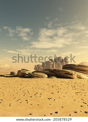 Fantasy or science fiction illustration of a distant town in the desert, 3d digitally rendered illustration - stock photo
