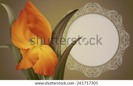 Fantasy Orange Iris with vintage lace for design of posters, banner, birthday cards, greetings, cover, magazines and other. Original style of unique flowers. Beauty and fresh spring collection.  - stock photo
