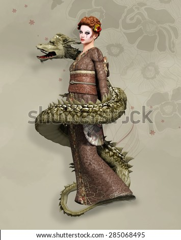 Fantasy oriental girl with dragon - stock photo
