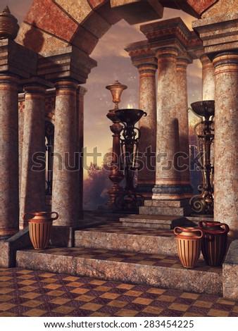 Fantasy palace stairs with colorful vases and columns - stock photo