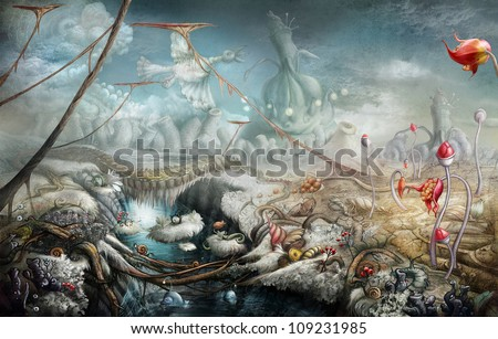 Fantasy panoramic landscape with lake and flowers. Digital painting - stock photo