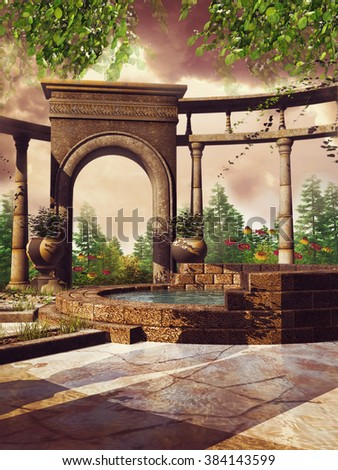 Fantasy patio with spring flowers and a small pool - stock photo