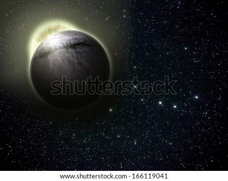 Fantasy planet in space full of stars - stock photo