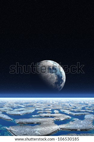 Fantasy Planet with Moon