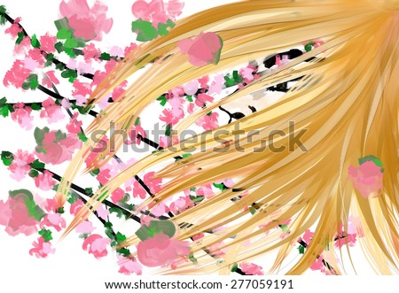 Fantasy portrait of a girl with sacura branch. Beautiful woman with flowers. Manga girl  - stock photo