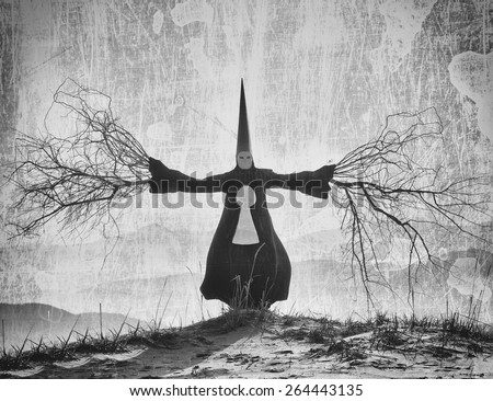 Fantasy portrait of a person wearing a long black cloak and a dunce hat with the branch hands - stock photo
