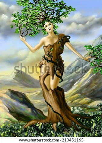 Fantasy portrait of an half girl, half tree creature. Digital illustration. - stock photo