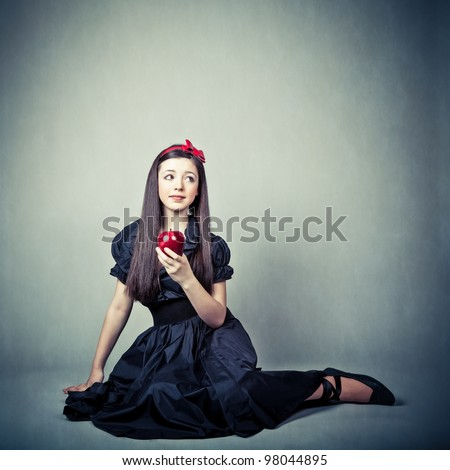 fantasy portrait of beautiful young girl, in snow white costume - stock photo