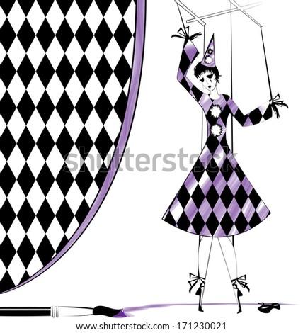 fantasy puppet Pierrette - stock photo