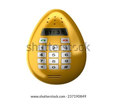 Fantasy Push-button golden smart phone or mobile phone like Easter egg. Conceptual futuristic technologies 3d illustration - stock photo