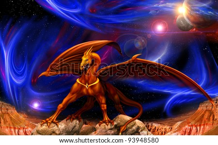 fantasy red gold dragon against a background of cosmic landscapes - stock photo