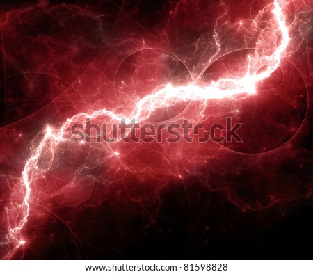 fantasy red lightning - stock photo