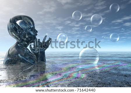 Fantasy rendering of a child playing with bubbles - stock photo
