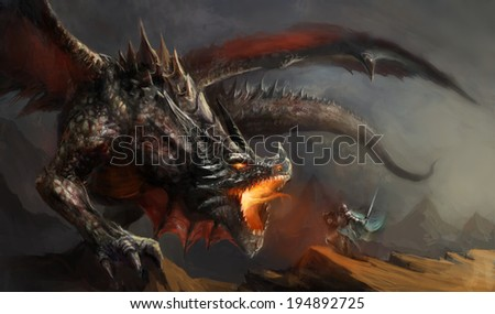fantasy scene knight fighting dragon - stock photo
