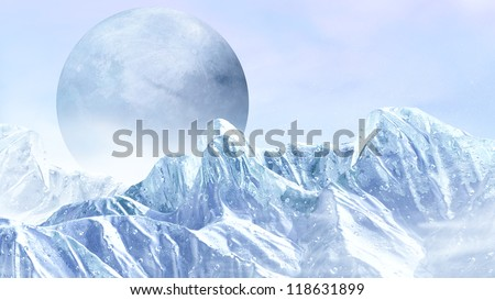Fantasy scene of the ice planet from somewhere in the universe - stock photo