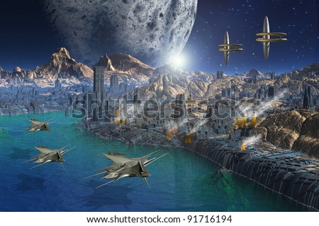 Fantasy scene on an alien planet with space ships - stock photo