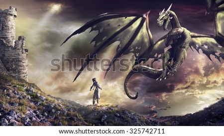 Fantasy scenery with castle ruins, sorceress and green dragon - stock photo