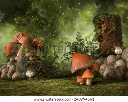 Fantasy scenery with mushrooms, rocks, lanterns, and a tree stump on a meadow - stock photo