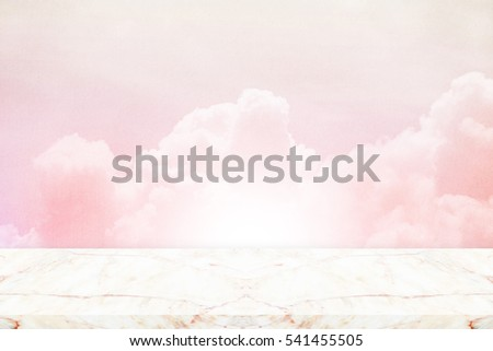 fantasy sky and cloud with grunge texture and marble tabletop