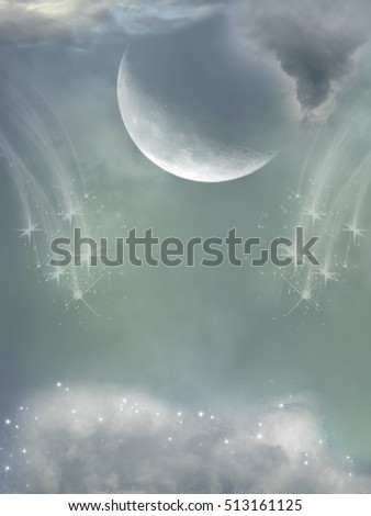 Fantasy sky with big moon 3D rendering