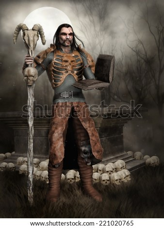 Fantasy sorcerer holding a skull staff and a magic book, standing by an altar with skulls