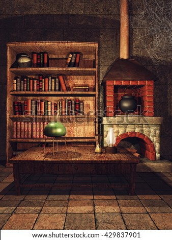 Fantasy sorcerer's room with books and a fireplace. 3D illustration.