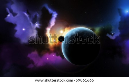 Fantasy space nebula and planet with satellite - stock photo