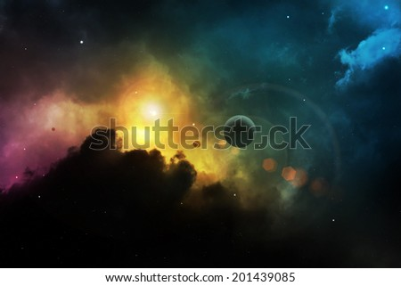 Fantasy space nebula with planet - stock photo