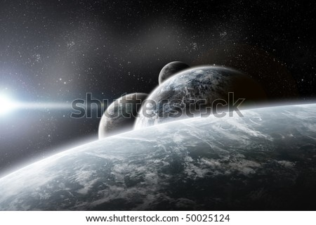 Fantasy space planets illustration - stock photo