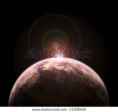 fantasy space scene with a red earth-like planet apocalypse - stock photo
