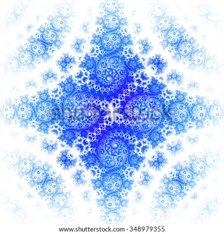 Fantasy spirals. Abstract ornament on white background. Symmetrical pattern. Computer-generated fractal in blue and turquoise colors. - stock photo