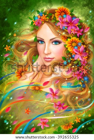 Fantasy Spring Beautiful fairy woman with summer flowers.  nature. fashion portrait - stock photo