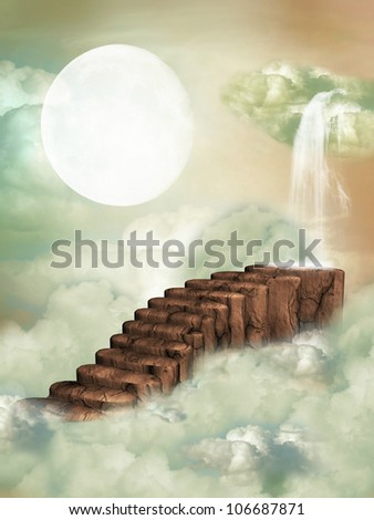 Fantasy stairway in the sky with waterfall - stock photo