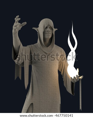 Fantasy statue of Elf character holding a light source in the night 3d rendering